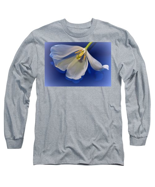 White Tulip On Blue Long Sleeve T-Shirt