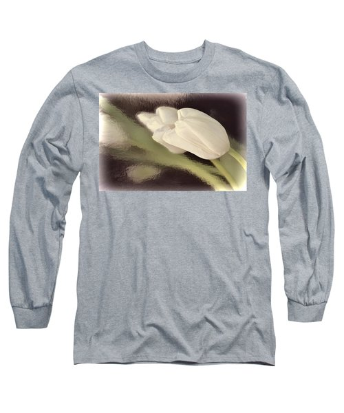 White Tulip Reflected In Misty Water Long Sleeve T-Shirt