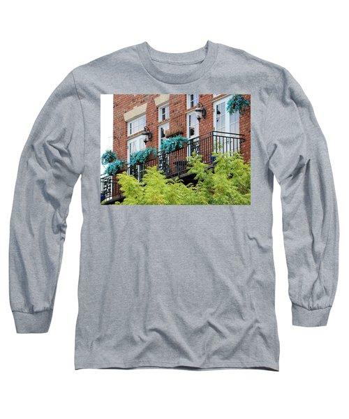 Blue Flowers On A Balcony  Long Sleeve T-Shirt