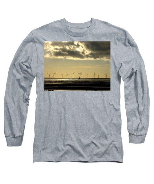 Wind Farm At Sunset Long Sleeve T-Shirt