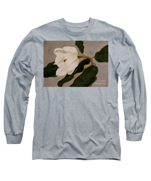 Windblown Magnolia Long Sleeve T-Shirt by Nancy Kane Chapman