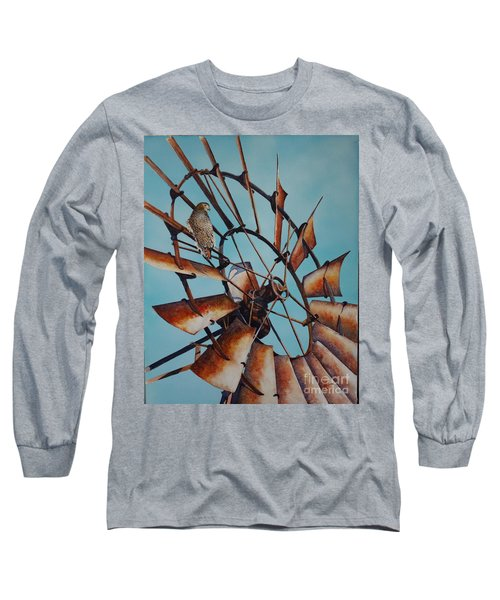 Windmill And Hawk Long Sleeve T-Shirt