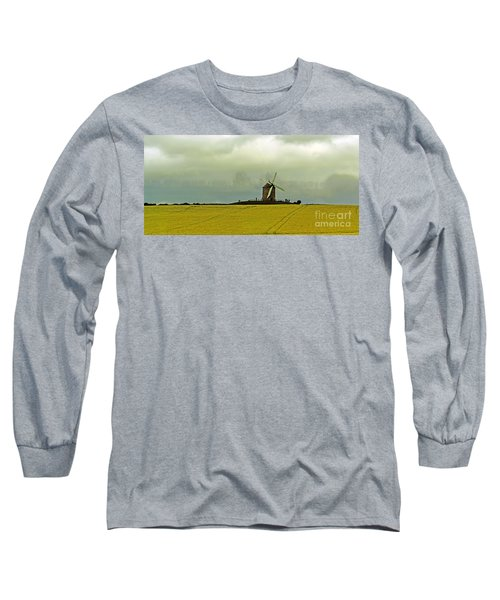 Windmill And Rapeseed And Storm Long Sleeve T-Shirt