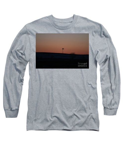 Long Sleeve T-Shirt featuring the photograph Windmill At Sunset by Ann E Robson