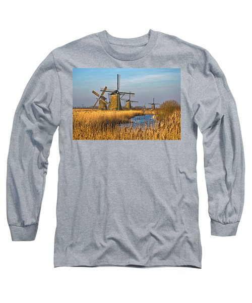 Windmills And Reeds Near Kinderdijk Long Sleeve T-Shirt by Frans Blok