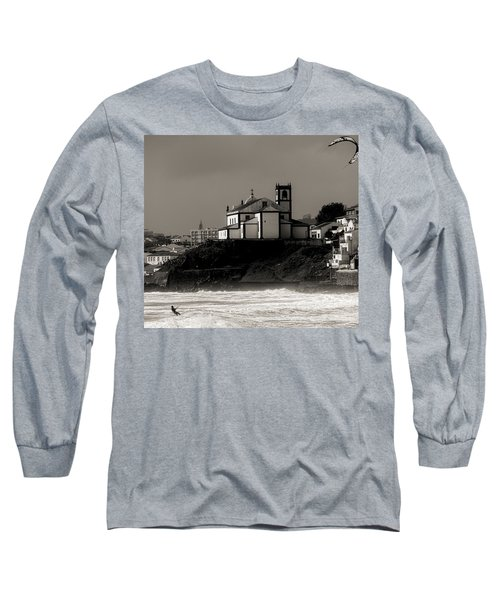 Windsurfer On Ocean In Back Of Church Long Sleeve T-Shirt