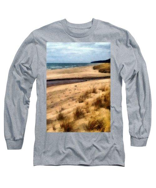 Winter Beach At Pier Cove Ll Long Sleeve T-Shirt