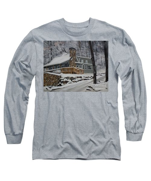 Long Sleeve T-Shirt featuring the painting Winter - Cabin - In The Woods by Jan Dappen