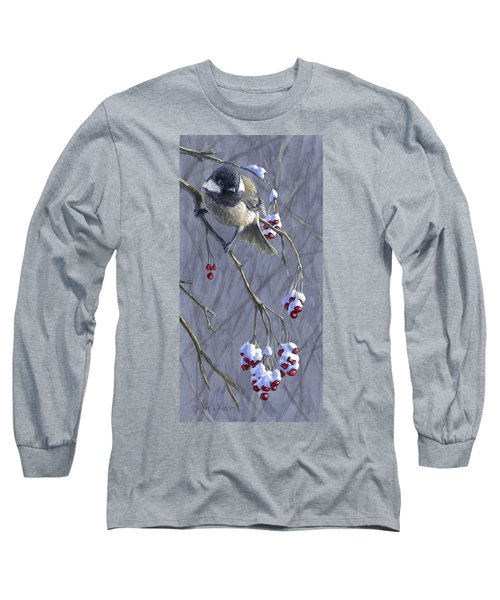 Winter Harvest 1 Chickadee Painting Long Sleeve T-Shirt