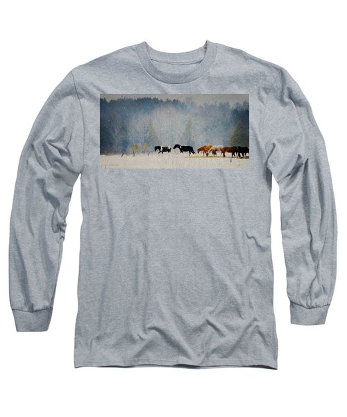 Long Sleeve T-Shirt featuring the photograph Winter Horses by Ann Lauwers