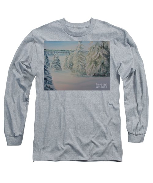 Long Sleeve T-Shirt featuring the painting Winter In Gyllbergen by Martin Howard