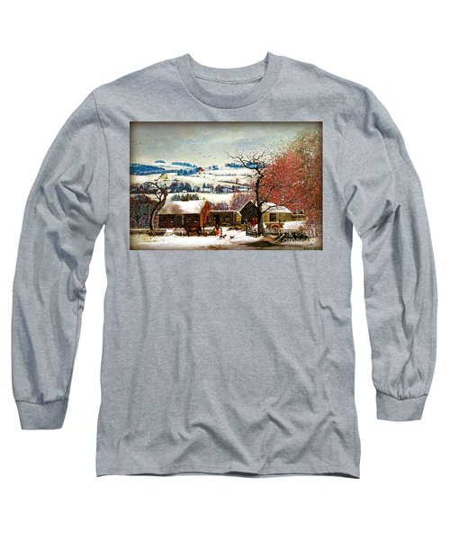 Winter In The Country Folk Art Long Sleeve T-Shirt