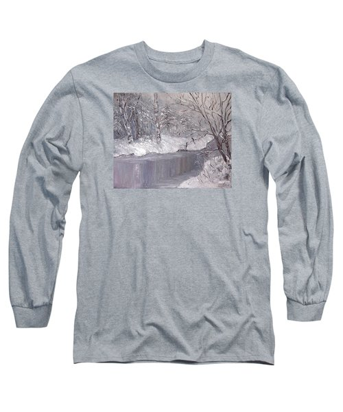 Long Sleeve T-Shirt featuring the painting Winter by Nina Mitkova