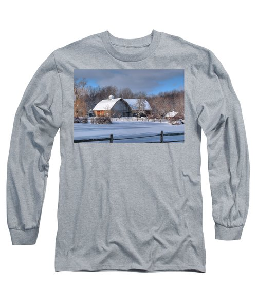 Long Sleeve T-Shirt featuring the photograph Winter On The Farm 14586 by Guy Whiteley
