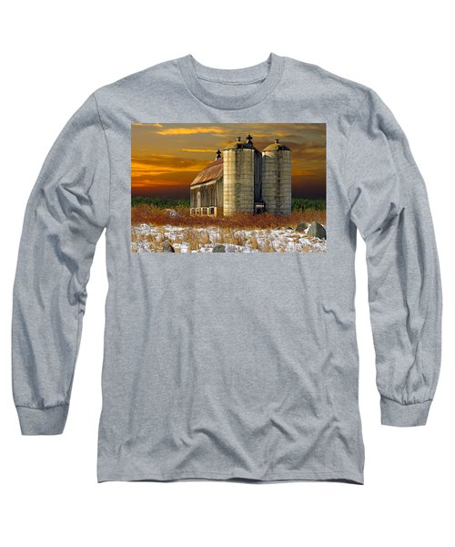 Winter On The Farm Long Sleeve T-Shirt by Judy  Johnson