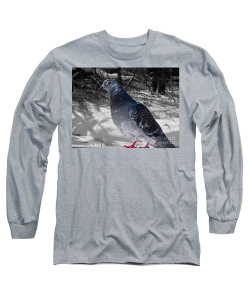 Long Sleeve T-Shirt featuring the photograph Winter Pigeon by Nina Silver