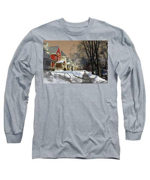 Long Sleeve T-Shirt featuring the pyrography Winter Scenery  by Viola El