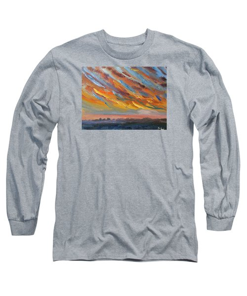 Winter Sunrise Over Provincetown Long Sleeve T-Shirt by Michael Helfen