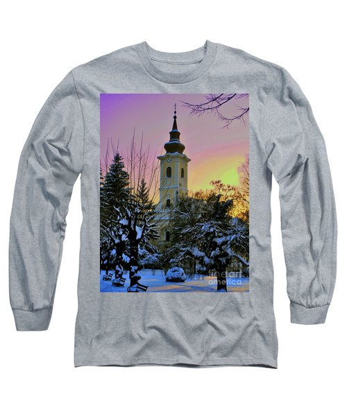 Long Sleeve T-Shirt featuring the photograph Winter Sunset by Nina Ficur Feenan