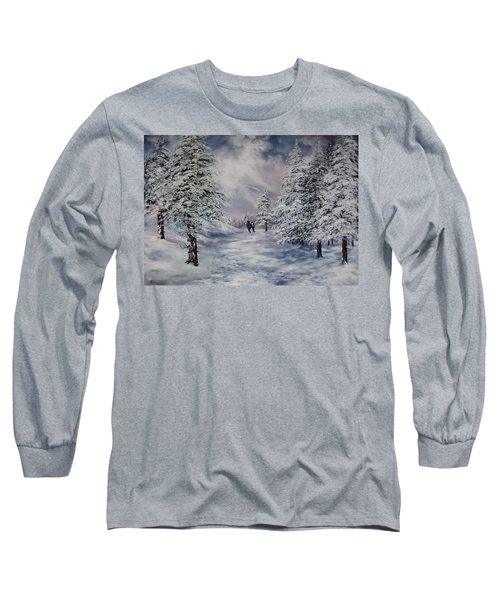 Long Sleeve T-Shirt featuring the painting Winter Walk On Cannock Chase by Jean Walker