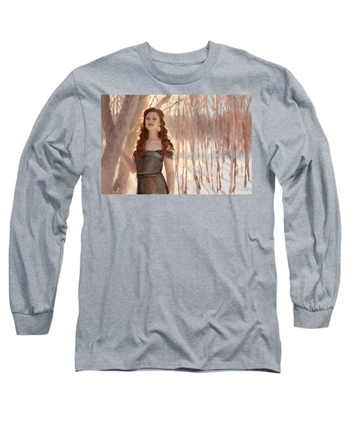 Winter Warmth - Figure In The Landscape Long Sleeve T-Shirt by Karen Whitworth