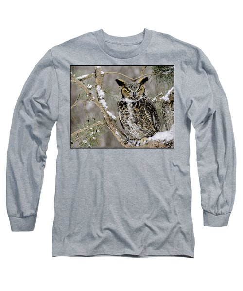 Wise Old Great Horned Owl Long Sleeve T-Shirt