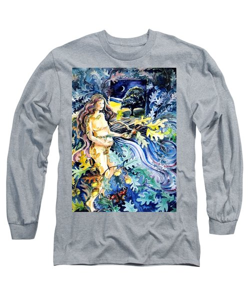 Long Sleeve T-Shirt featuring the painting Woman Holding An Acorn -  by Trudi Doyle