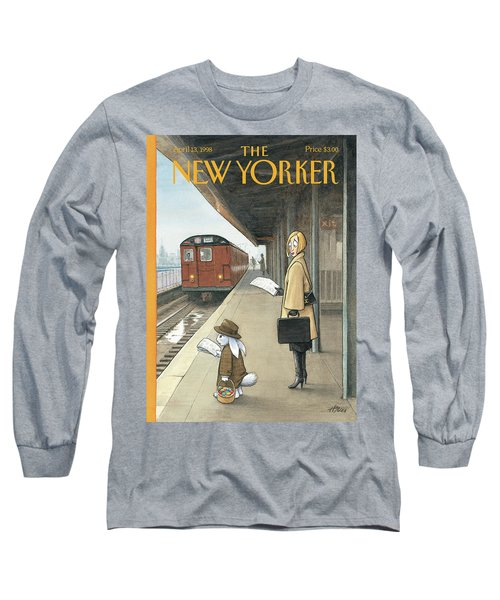 Woman On Train Platform Looking At Easter Bunny Long Sleeve T-Shirt