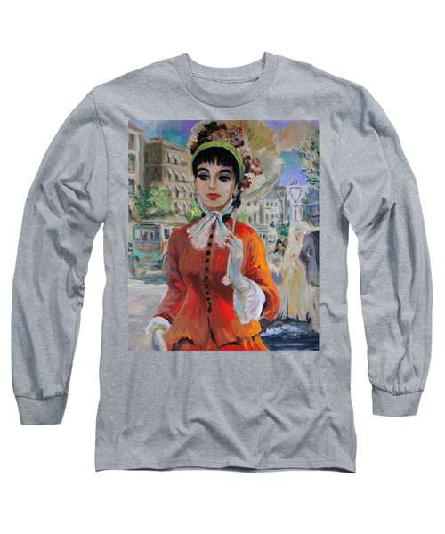 Woman With Parasol In Paris Long Sleeve T-Shirt