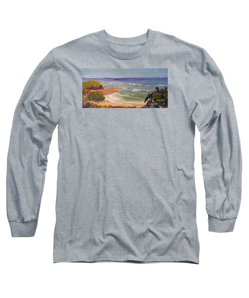 Long Sleeve T-Shirt featuring the painting Wombarra Beach by Pamela  Meredith