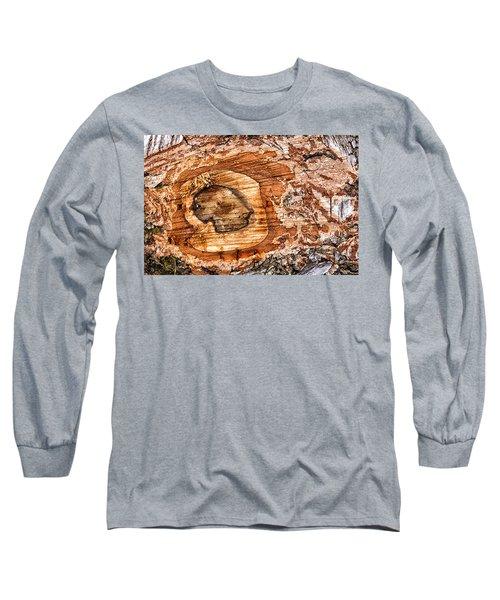 Wood Detail Long Sleeve T-Shirt