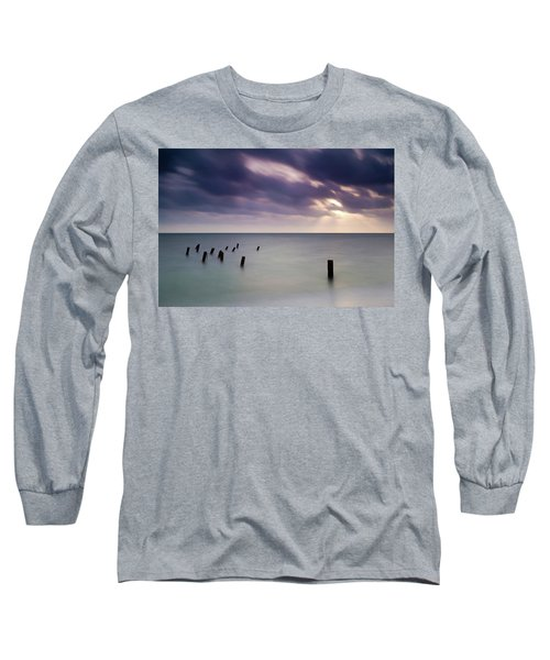 Wooden Posts In Sea Under Stormy Sky Long Sleeve T-Shirt