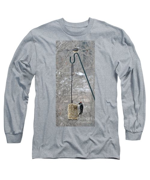 Woodpecker And Chickadee Long Sleeve T-Shirt