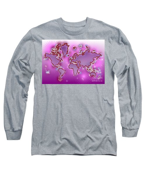 World Map Amuza In Pink And Purple Long Sleeve T-Shirt by Eleven Corners