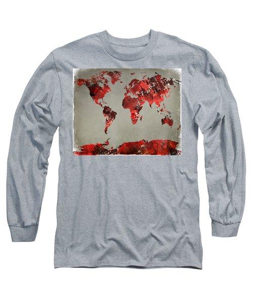 World Map - Watercolor Red-black-gray Long Sleeve T-Shirt