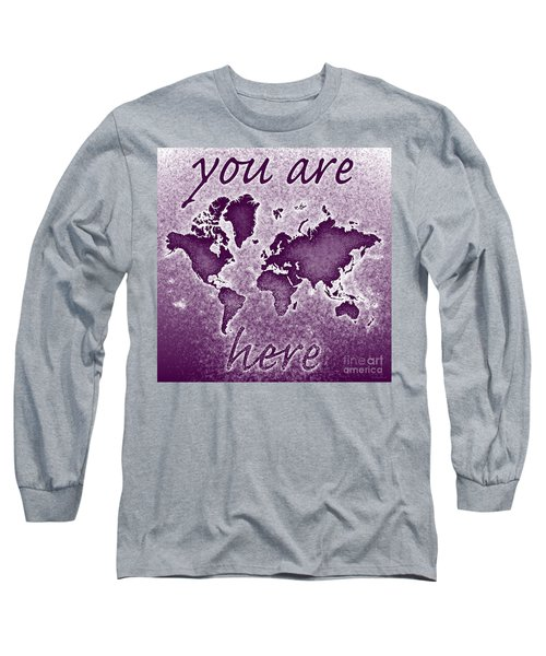 World Map You Are Here Novo In Purple Long Sleeve T-Shirt by Eleven Corners