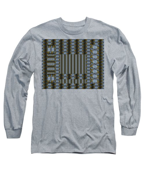 Woven Blue And Gold Mosaic Long Sleeve T-Shirt