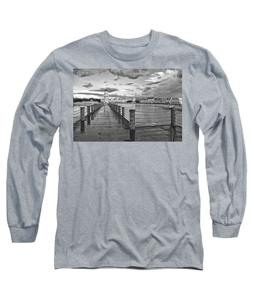 Yacht And Beach Lighthouse In Black And White Walt Disney World Long Sleeve T-Shirt by Thomas Woolworth