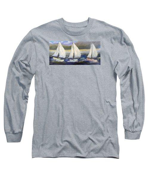 Yachts Sailing Off The Coast Long Sleeve T-Shirt by Pamela  Meredith
