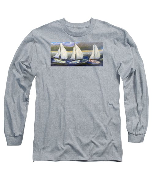 Yachts Sailing Off The Coast Long Sleeve T-Shirt