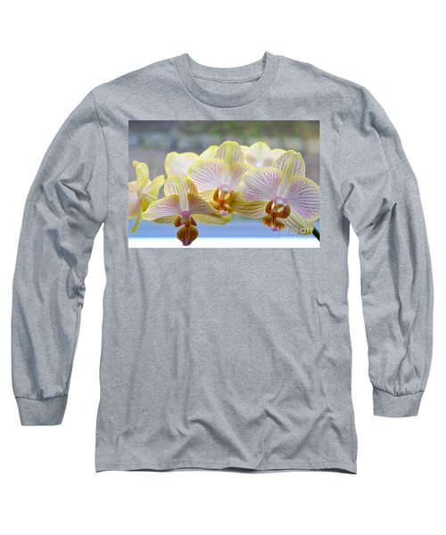 Yellow And Pink Orchids Long Sleeve T-Shirt by Tine Nordbred
