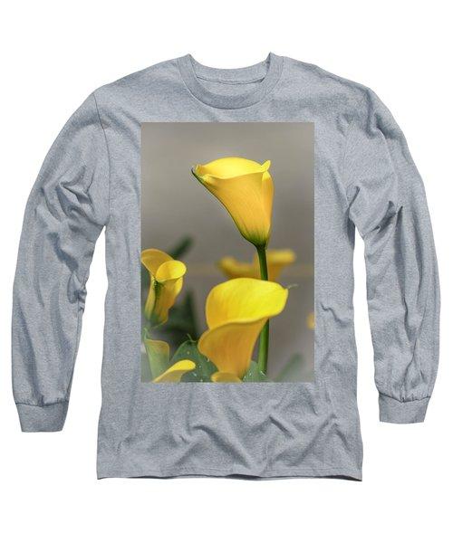 Yellow Calla Lilies Long Sleeve T-Shirt by Menachem Ganon