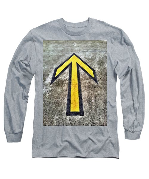 Yellow Directional Arrow On Pavement Long Sleeve T-Shirt