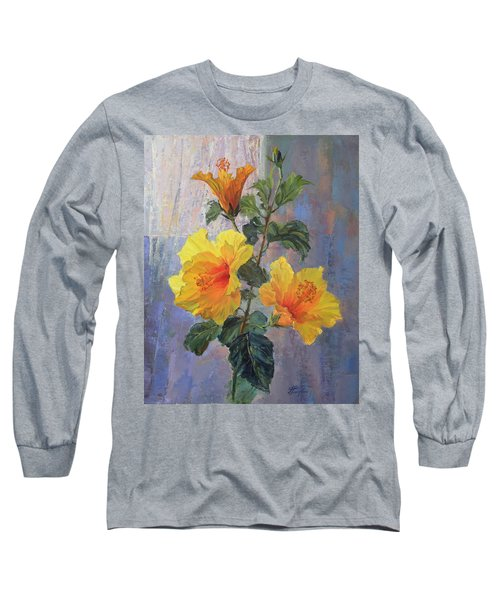 Yellow Hibiscus Flower Long Sleeve T-Shirt