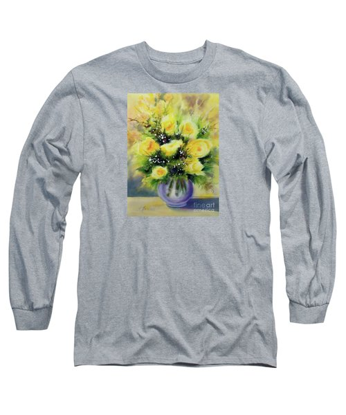Yellow Roses Long Sleeve T-Shirt by Kathy Braud