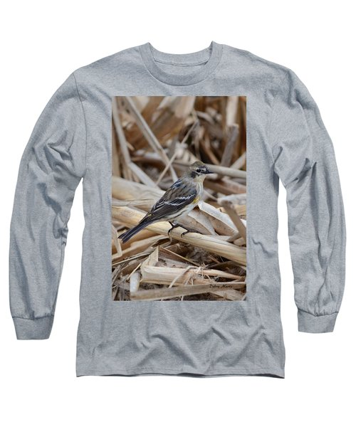 Long Sleeve T-Shirt featuring the photograph Yellow-rumped Warbler by Debra Martz