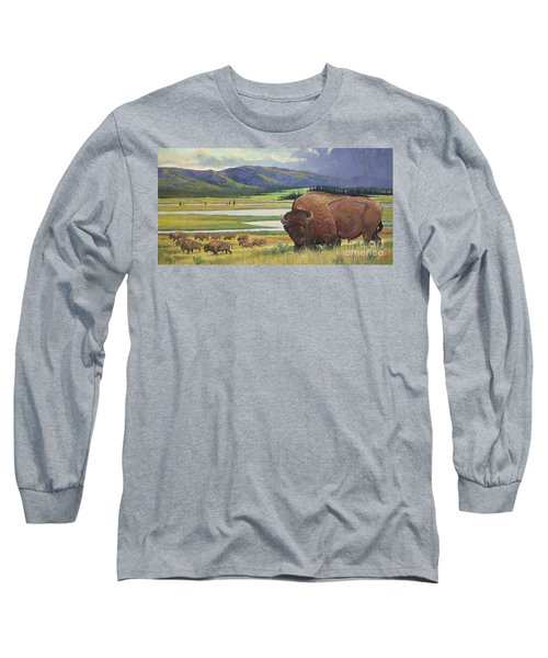 Long Sleeve T-Shirt featuring the painting Yellowstone Bison by Rob Corsetti