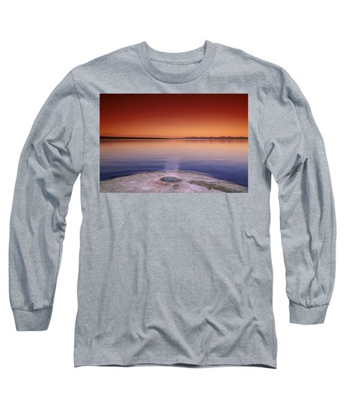 Yellowstone Lake And Geyser Long Sleeve T-Shirt by Rich Franco