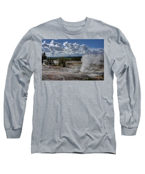 Long Sleeve T-Shirt featuring the photograph Yellowstone's Norris Geyser Basin by Bill Gabbert