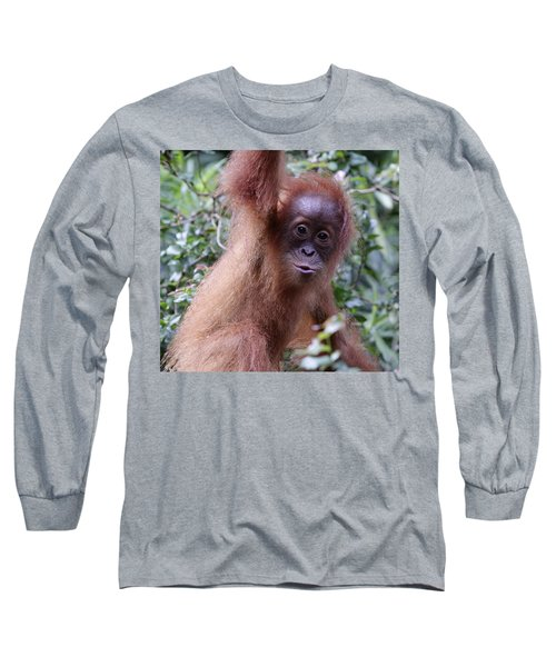 Long Sleeve T-Shirt featuring the pyrography Young Orangutan Kiss by Shoal Hollingsworth